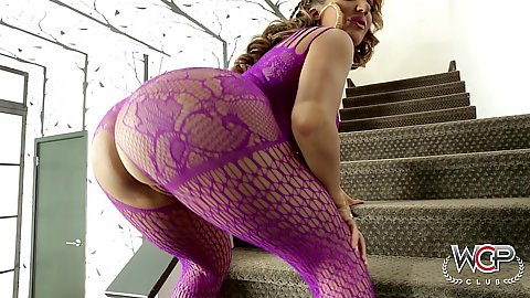 Big round ass milf Richelle Ryan posing in super sexy fishnet lingerie