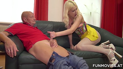 Jerking older mans cock with slim ass Sarah Dark