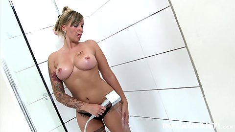Solo shower with inked Jill Diamond scrubbing her body parts
