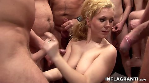 Curly Ann and Jil Thomson getting sperm flowing in lovely bukkake multiple cumshot gang bang