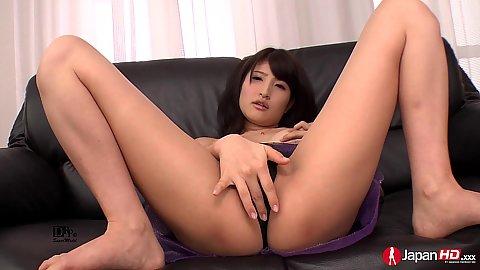 Smoking hot asian Kohashi Saki spread legs solo pussy play
