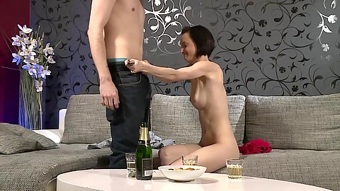 Natural tits couples fuck with good looking Brunette