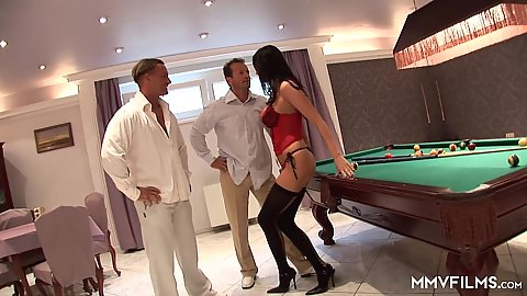 Mandy Bright wearing lingerie and wants it on pool table