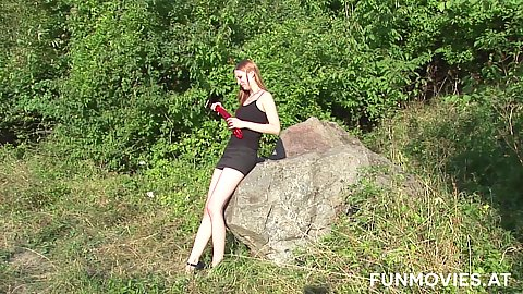 Lonely solo outdoor Giulietta Canale flashing her goods and having sex with dildo