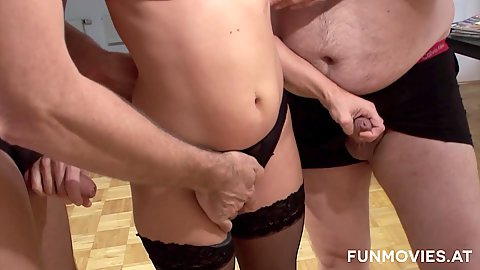 Astonishing milf Anja jerks two schlongs with hands