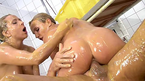 Cock riding with slimy nurses in 2 on 1