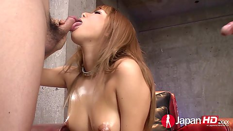 Sensual oral sex with Kokoa Ayane for two dicks at once