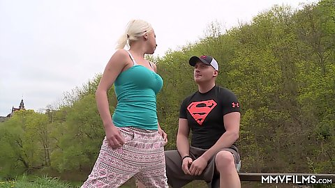 Blonde teen Magdalena Gold training while jogging outdoors