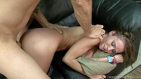 Slammed from the back for petite small boobs chick Norah Nova
