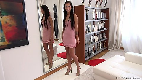Cute babe in nice pink dress Lauren C