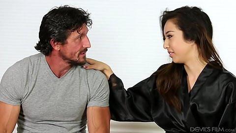 Mila Jade lays guy down for private massage