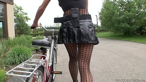 Fishnet bicycle riding with Chelsey Lanette and Samantha Bentley