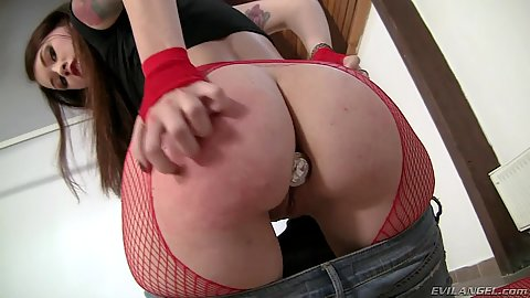 Butt plug with Misha Cross crawling around the floor