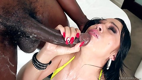 Huge black cock dick sucking and oily fucking after with Kristina Rose