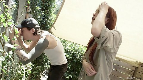 Redhead and her silly friend Anna De Ville looking for manhandling