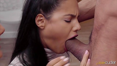 Pop quiz blowjob with Apolonia and Halona Moreno doing deep throat and sharing shaft
