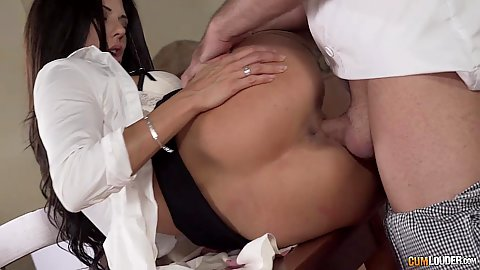 Lovely waitress Alexa Tomas fucked on restaurant table while others are still there