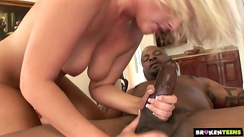 White girl blondie Addison Rose sucks and gets nailed big a big black penis