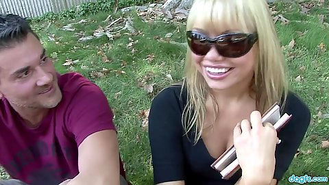 Blonde asian in sunglasses Maya Hills shows pussy in the car