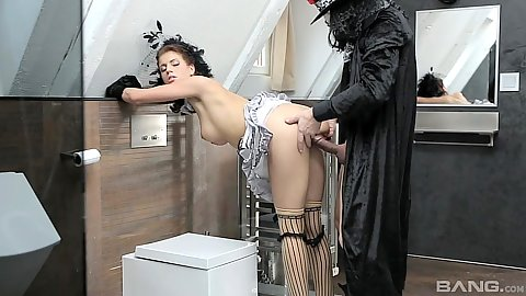 Standing fuck in the bathroom with halloween carnival freak Kristine Crystalis and in the ass