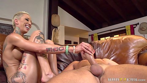 Oiled up blonde short haired asian Bella Bellz jerks and sucks dick and enjoys anal