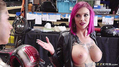 Big chested Felicity Feline and Anna Bell Peaks getting nasty in motorcycle garage