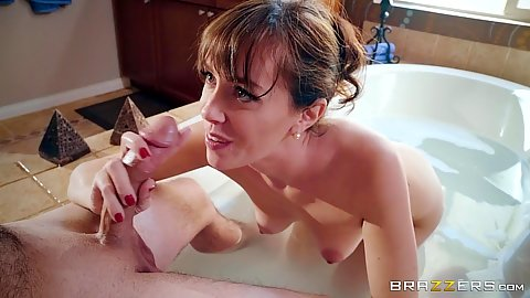 Oral sex and reverse cowgirl form tramp stamped mommy Alana Cruise