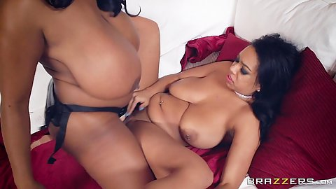 Strap on busty black chicks screwing Katt Garcia and Maserati