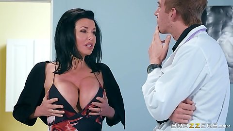 Big breasts milf Veronica Avluv comes in and strips for doctor