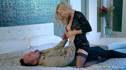 Blonde milf in stockings Alexis Fawx helps her passed out husband