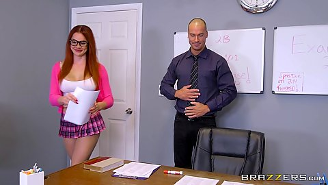 Sexy outfit redhead Skyla Novea talks to her teacher