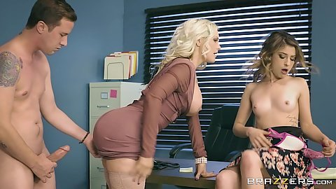 Dirty work with tiny boobs and big chested milf Alena Croft and Kristen Scott