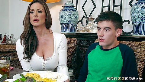 Fully clothed brunette milf Kendra Lust stuffs mouth with cock for thanksgiving