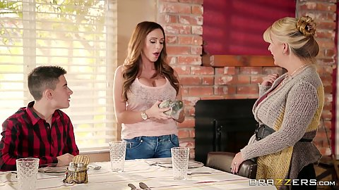 Ariella Ferrera helping to set the table