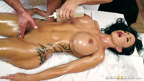 Juicy milf oiled body Jewels Jade gets lubed to the max and touched