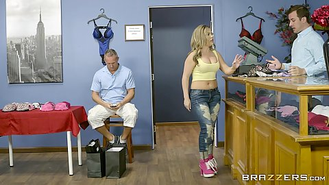 Prurient Carmen Valentina gets her breasts measured in fitting room