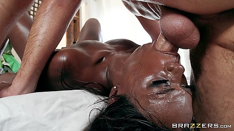 Reverse blowjob deep throat and flexible legs behind penetration with rough sex face fucked black girl Ana Foxxx