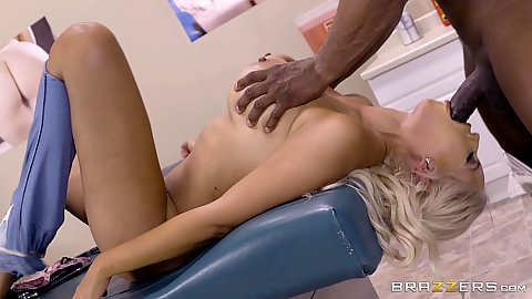 Big black cock screwing blonde latina milf Bridgette B during medical exam