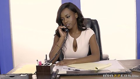 Ebony babe fully clothed in office Jezabel Vessir answering phone