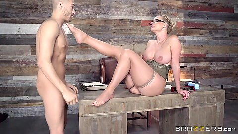 Jaw dropping busty milf Phoenix Marie fucks on office desk