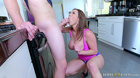 Kitchen dick sucking with big ass milf Kendra Lust