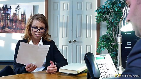 Redhead Britney Amber in office fucking in interview