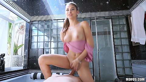 Natural boobies cute latina teen Nina North sitting on dick in bathroom