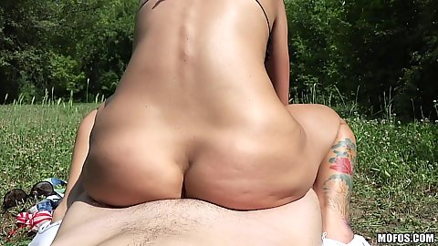 Hungarian hardcore small chested slut Suzy Rainbow pounded on the grass