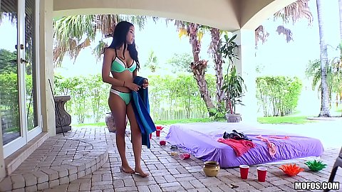 Cheerful bikini latina Maya Bijou goes skinny dipping