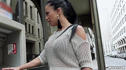 Brunette Samantha Blaze walking the streets