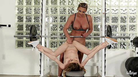 Phoenix Marie and Angel Smalls in lesbian fingering at the gym