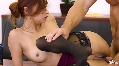 Smashing latina office worker Jade Jantzen getting laid from the side