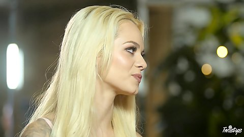 Dirty slut Elsa Jean has small boobies during interview