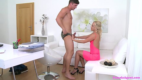 Cfnm female agent wants to suck her hew male model Cristal Caitlin